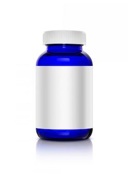 Garrafa de produto de suplemento de vidro transparente azul