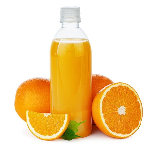 Garrafa de suco de laranja natural