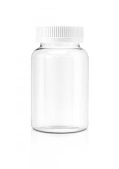 Garrafa de suplemento de plástico transparente em branco isolada no fundo branco