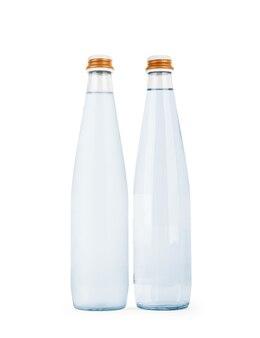 Garrafa de vidro com água isolada em um fundo branco