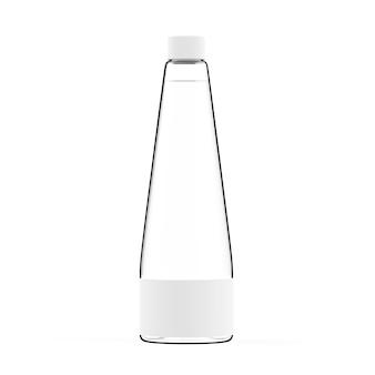 Garrafa de vidro isolada em fundo branco ou maquete de recipiente de líquido transparente