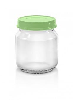Garrafa de vidro transparente com tampa verde pastel isolada no fundo branco