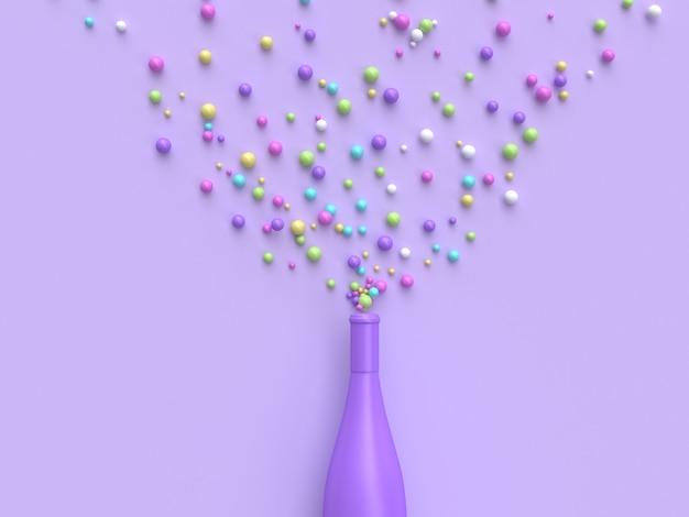 Garrafa de vinho abstrata colorida muitos renderização em 3d de bola