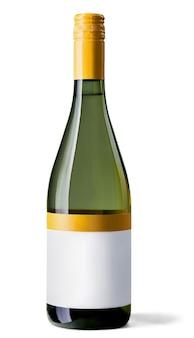 Garrafa de vinho branco em fundo branco