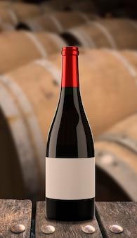 Garrafa de vinho com barricas