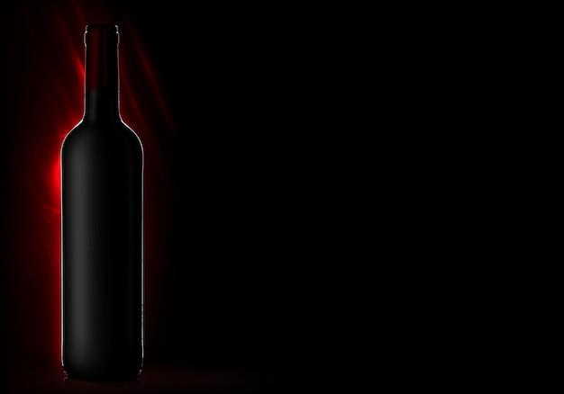 Garrafa de vinho sem rótulo em um fundo preto
