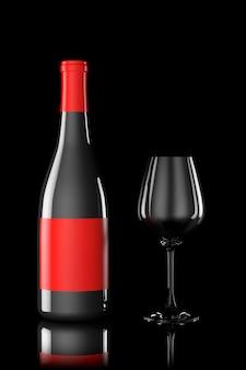 Garrafa de vinho tinto e copo em fundo preto
