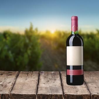 Garrafa de vinho tinto no fundo