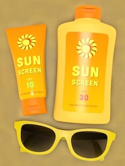 Garrafa, e, tubo, de, protetor solar, e, amarela, óculos de sol, ligado, areia