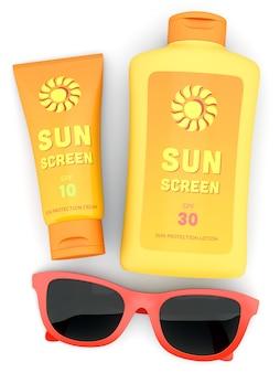 Garrafa e tubo de protetor solar e óculos de sol vermelhos isolados no branco