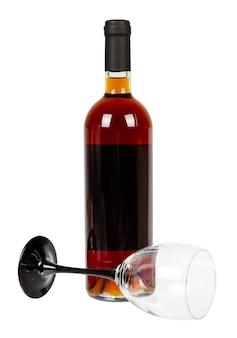 Garrafa fechada de vinho, álcool e conceito de dependência