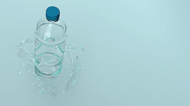 Garrafa plástica para a rendição do conceito 3d do eco.