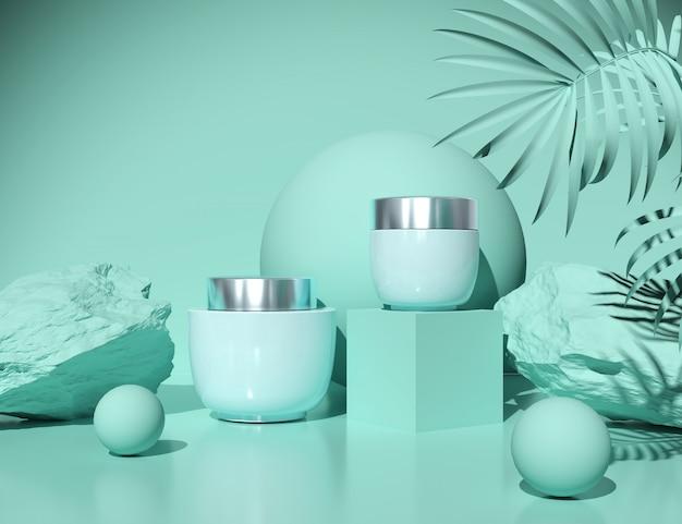 Garrafa vazia cosmética natural que empacota no conceito azul abstrato da beleza e dos termas, rendição 3d.