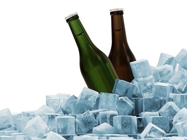 Garrafas de cerveja em cubos de gelo isoladas em branco