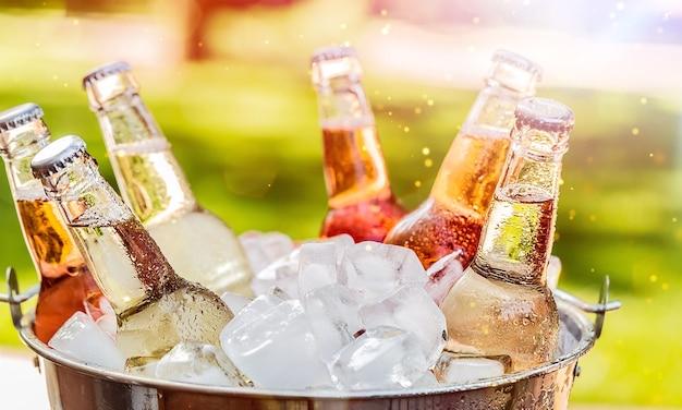 Garrafas de cerveja gelada e fresca com gelo isolado