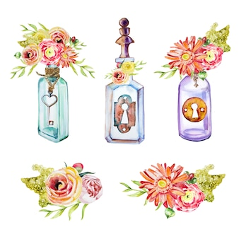 Garrafas pintadas à mão em aquarela com chaves e buquês clipart clipart conjunto isolado. elementos de design de chaves vintage.