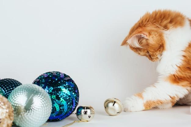 Gatinho fofo de gengibre brinca com sinos de metal e bolas de natal.