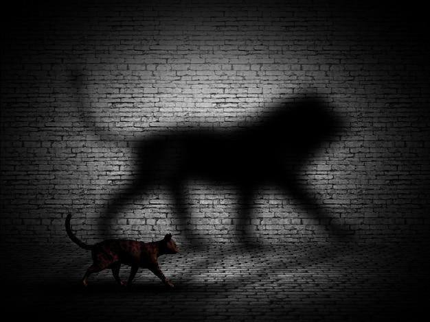 Gato 3d que anda com sombra em forma de leão contra uma parede de tijolos