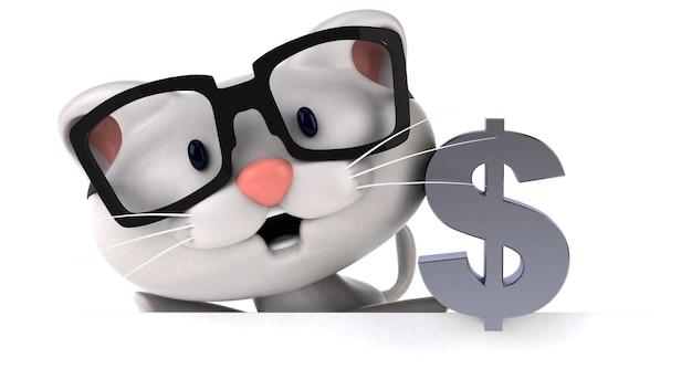 Gato divertido - ilustração 3d