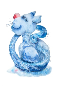 Gato manhoso azul com cauda longa isolado no fundo branco