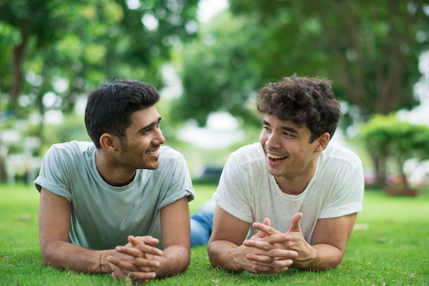 Gays alegres conversando e rindo enquanto estava deitado na grama