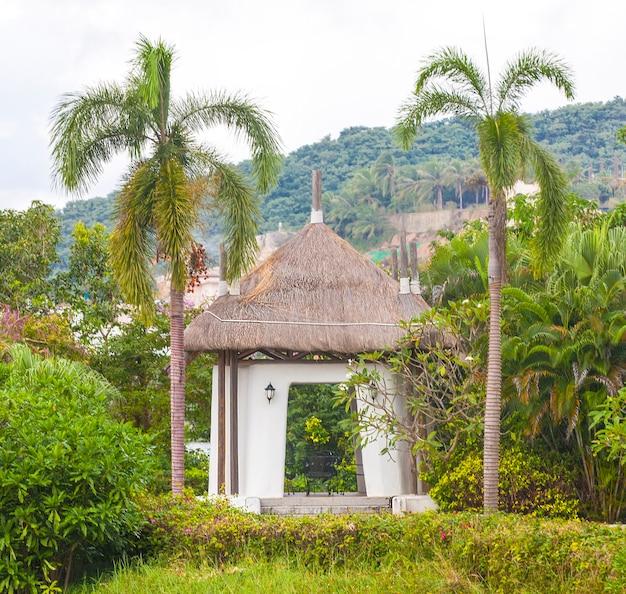 Gazebo do jardim de verão ou cabana tropical.