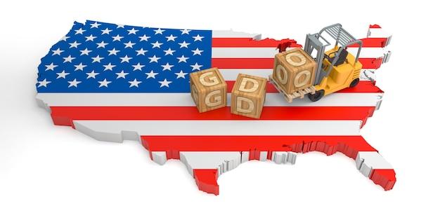 Gdo bloco de madeira texto do mapa da bandeira dos eua. renderização 3d