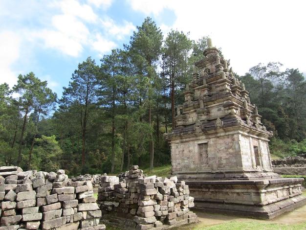 Gedong songo é um grupo de templos hindus localizados em semarang, java central, indonésia, cercado por colinas, florestas e plantações de vegetais.