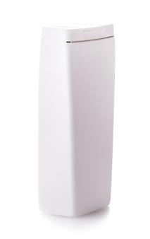 Gel, espuma, sabonete líquido ou qualquer frasco plástico de cosmético branco isolado sobre fundo branco