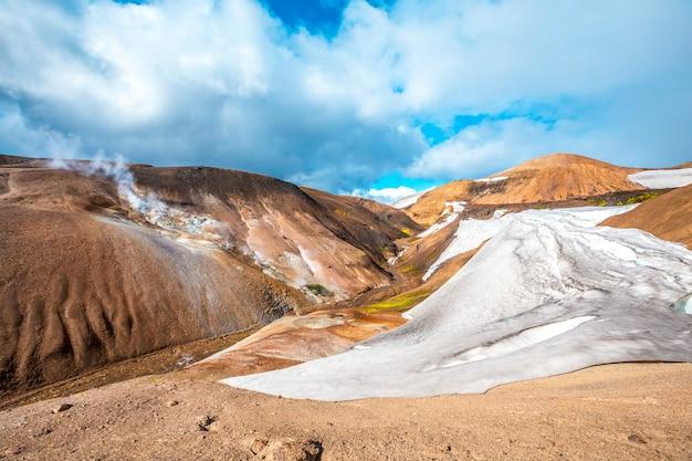 Geleira bonita no verão, no ponto mais alto da caminhada de 4 dias de landmannalaugar. islândia