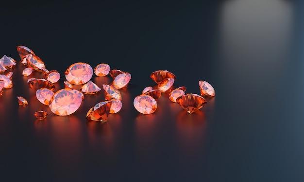Gemas de topázio vermelho na mesa