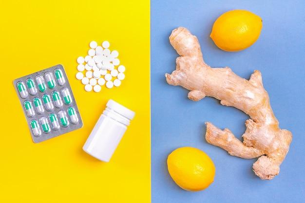 Gengibre, limão, mel, drogas diferentes. remédios alternativos e pílulas tradicionais para tratar resfriados e gripes