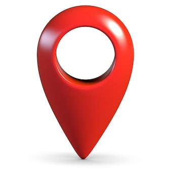 Geo pino de mapa 3d brilhante vermelho sobre fundo branco com sombra
