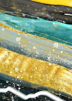 Geodo aquarela de mármore abstrato pintando turquesa dourado com fundo preto e cinza e dourado