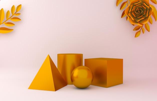 Geometria de ouro, ouro rosa e folhas de fundo