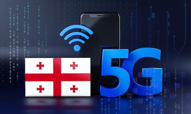 Geórgia pronta para o conceito de conexão 5g. fundo de tecnologia de smartphone de renderização 3d