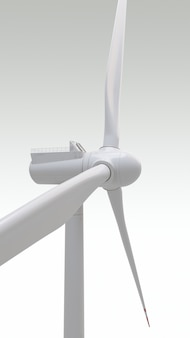 Geração de energia de turbina eólica usina de energia eólica renderização em 3d