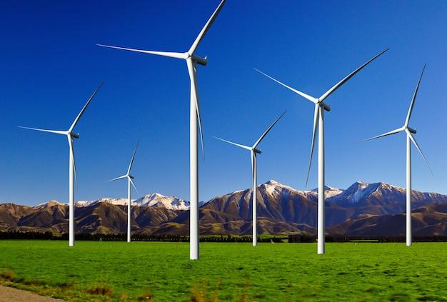 Gerador de energia de fazenda de turbina eólica em belas paisagens naturais para produção de energia renovável