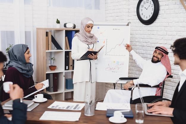 Gerente árabe mulher faz apresentação no escritório.