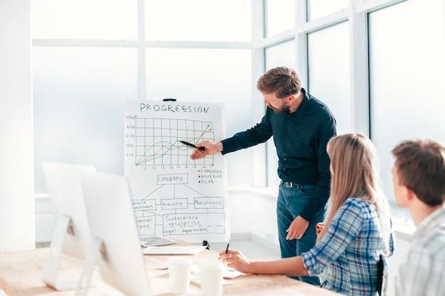 Gerente de projetos explicando aos colaboradores a nova estratégia da empresa. foto com espaço de cópia