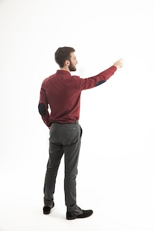 Gerente de sucesso de uma mão apontando no banner em branco