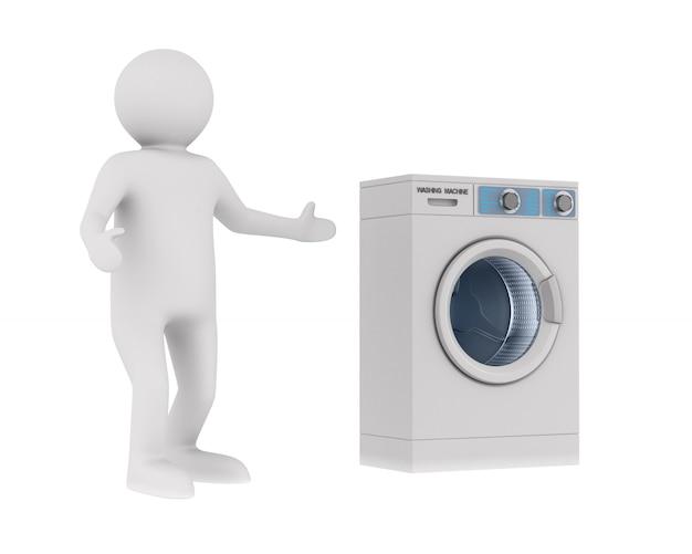 Gerente e máquina de lavar em branco. ilustração 3d isolada