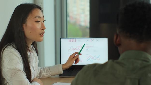Gerente feminina lidera reunião de brainstorming na reunião da equipe de negócios do escritório de design no conceito de trabalho em equipe moderno