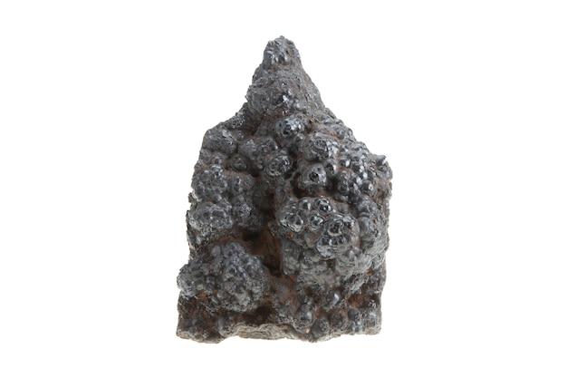 Germinação do minério de ferro isolado no branco com trajeto de grampeamento. charme de metal que se acredita ser invulnerável.
