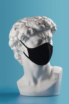 Gesso david busto cabeça em máscara facial de pano