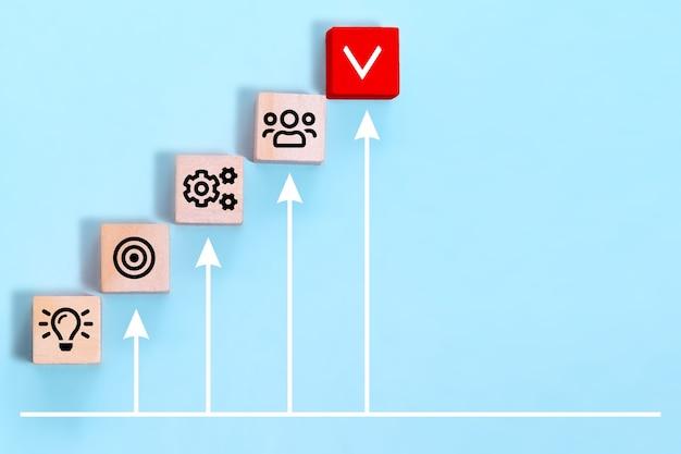 Gestão de processos de negócios, planeje um projeto com cubos de madeira com estratégia de negócios de ícone sobre fundo azul.