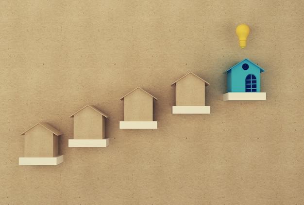 Gestão financeira: casa e financeira economizam dinheiro para a residência. propriedade de investimento imobiliário e hipoteca da casa