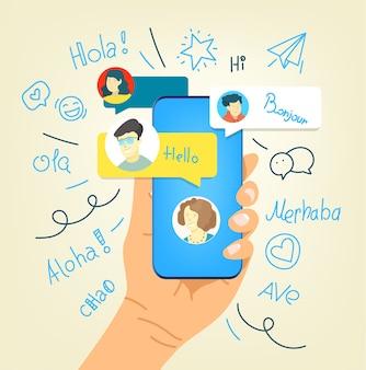 Gesto humano usando smartphone moderno