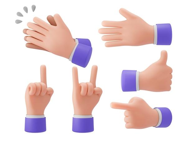 Gestos com as mãos em 3d, levante a mão, aponte o dedo, estilo desenho animado, trajeto de recorte para apresentações, anúncios. renderização de ilustração 3d.