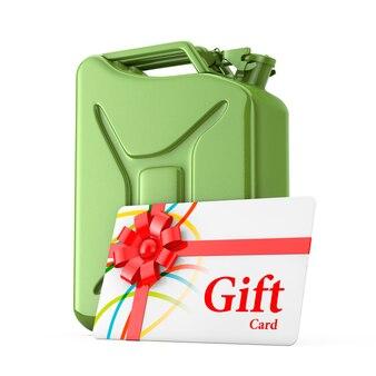 Gift card com fita vermelha na frente do red metal jerrycan em um fundo branco. renderização 3d